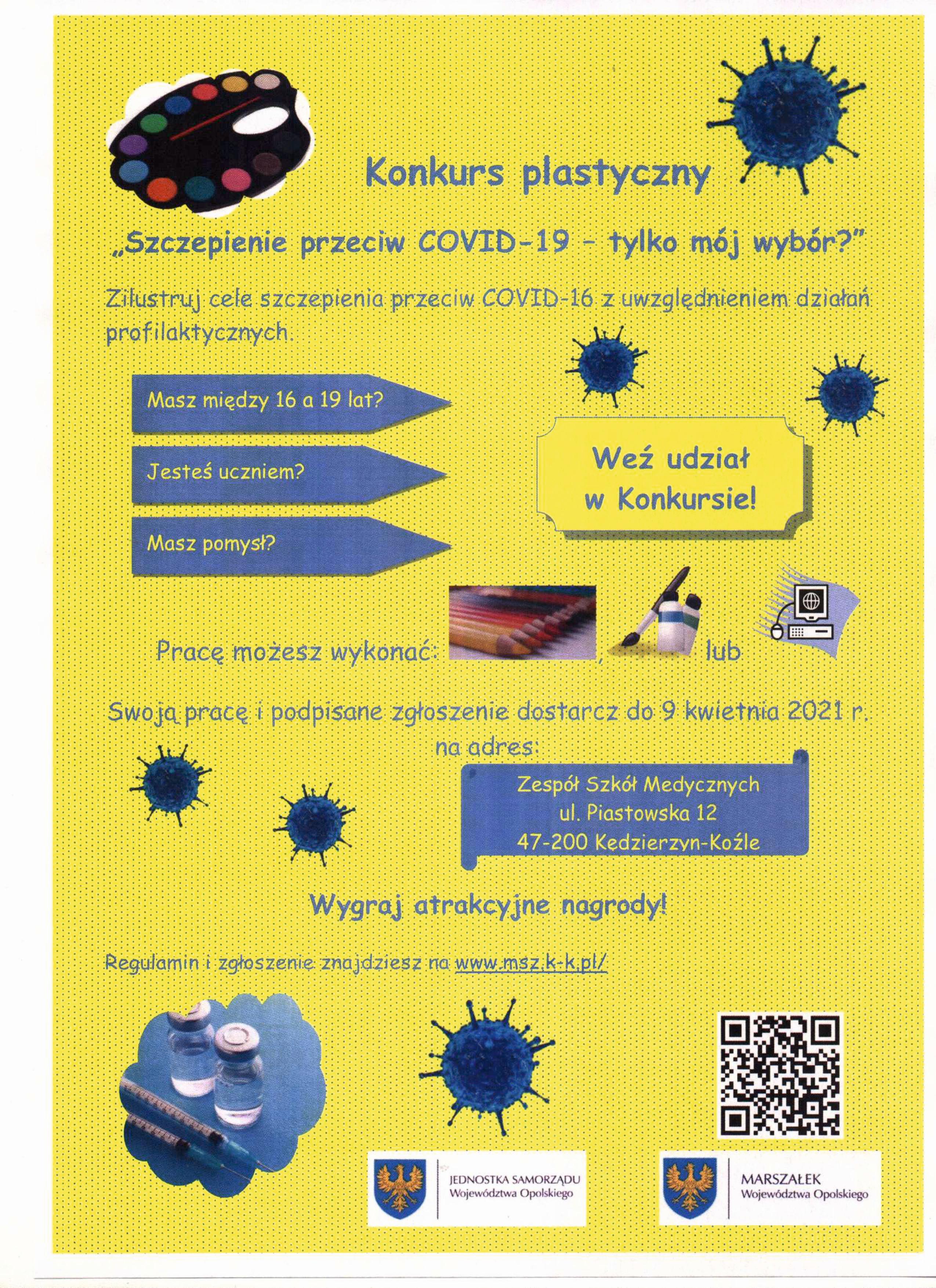 """Konkurs plastyczny – """"Szczepienie przeciw COVID-19 – tylko mój wybór""""."""